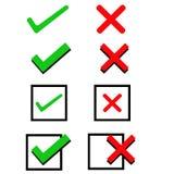 Check Mark, Wrong Mark Icons. Illustration icons Royalty Free Stock Photos