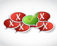 Check mark and x marks behind. illustration Stock Images