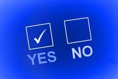 Check mark in yes box Stock Photography
