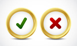 Check mark yes and no buttons concept Royalty Free Stock Photo