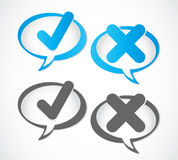 Check mark Yes and No speech bubble Royalty Free Stock Image