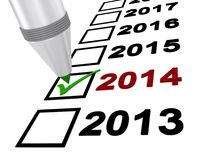 Check marked year 2014. Checklist for years 2013 through 2017 with the year 2014 marked with green check mark stock photography