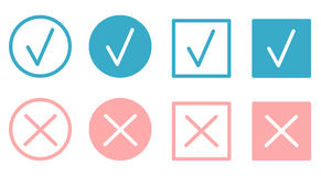 Check marks and crosses flat buttons set Royalty Free Stock Photography