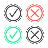 Check marks in double circle. Isolated on white background. modern vector illustration Royalty Free Stock Photo