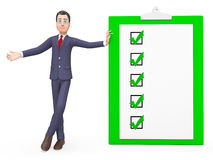 Check Marks Means Tick Symbol And Affirmation 3d Rendering. Check Marks Representing Clip Board And Executive 3d Rendering Royalty Free Stock Image