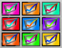 Check Marks On Monitors Showing Approved And Satisfied Royalty Free Stock Photos