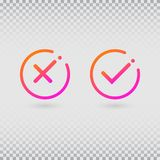 Check marks set in modern gradient colors. Bright tick and cross in circle shapes. Concept of checklist, reject or stock illustration