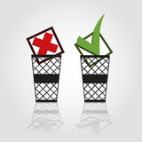 Check marks in trash cans Royalty Free Stock Image