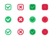 Check marks, vector ticks, crosses, red and green royalty free illustration