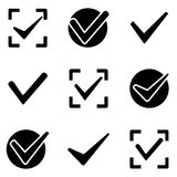 Check marks web and mobile logo icons collection Royalty Free Stock Images