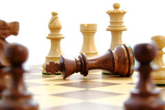 Check mate. D king surrounded by opponent Royalty Free Stock Photo
