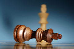 Check mate. A game of chess comes to an end. The king is checkmated Stock Image