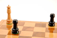 Check and mate. Game over on white background Royalty Free Stock Photo