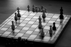 Check mate on black king. Real game Royalty Free Stock Photography