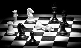 Check mate in black and white. With selective lighting Stock Photo