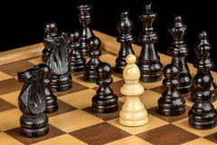 Check Mate on a Chess board. Chess game as reached its end with check mate Royalty Free Stock Photography