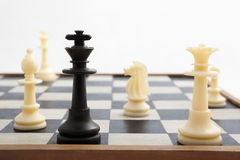 Check mate condition. Black king pieces is check mated by white pieces Royalty Free Stock Photography