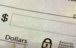 A check with the money field Royalty Free Stock Images