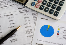 Check the monthly account statement Stock Photo
