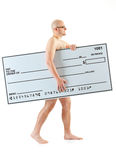 Check: Naked Guy Walks with Check Stock Photography