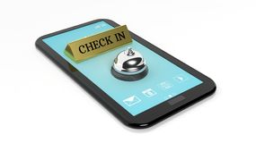Check in note and hotel bell on tablet Stock Images
