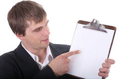 Check the offer details. Businessman explaining the details of an incredible deal offer Stock Photo
