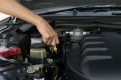 Check the oil level in engine Stock Images