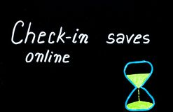 Check-in online saves time message Stock Images