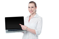 Check out brand new laptop in market for sale Stock Image