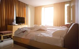 Check out hotel room. Bed room in morning after use in hotel for check out Royalty Free Stock Photos
