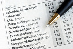 Check out interest rates from newspaper Royalty Free Stock Images