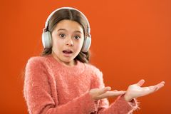 Check out music service copy space. Get music account subscription. Enjoy music concept. Earphones wireless modern. Technology. Girl child listen music wireless royalty free stock photo