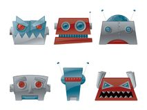 Retro Robot Head Vector Graphic Icon Set. Check out this vector robot icons set of six different retro styled robot heads Stock Image