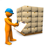 Check Pallet. Orange cartoon character with clipboard and pallet. White background Royalty Free Stock Photo