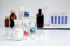 Check pills in laboratory no one Royalty Free Stock Images