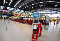 Check-in in Prague  airport. Departure hall on airport in Prag Royalty Free Stock Photos