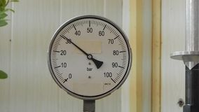 Check the pressure gauge. stock video footage
