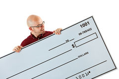 Check: Reading the Amount on a Huge Check Royalty Free Stock Photo