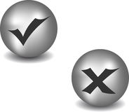Check and refuse buttons. Round check and refuse buttons. Vector set Stock Images