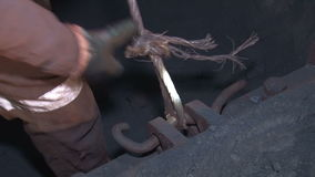 Check the rope in a mine. Underground mine iron ore and coal stock video
