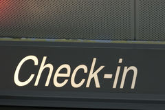 Check in sign Stock Images