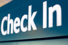 Check in sign. Close up of check in sign at airport Royalty Free Stock Images
