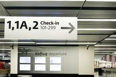 Check in sign. VIENNA -JANUARY 03: Vienna airport check in sign for travelers inside airport hall in Austria on January 03, 2013 Royalty Free Stock Photo