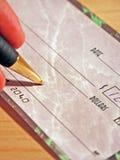 Check Signing. Bank Check Signing Close Up Stock Photography