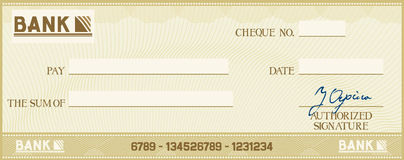 Bank cheque Royalty Free Stock Images