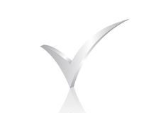 Check symbol 3d. Isolated check symbol with reflection Royalty Free Stock Photos