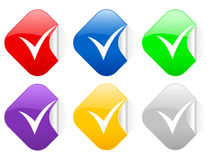Check symbol square stickers Royalty Free Stock Images