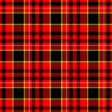 Check tartan plaid fabric seamless pattern texture background - red, black, yellow and white colored Royalty Free Stock Photo