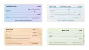 Free Check Template. Blank Bank Cheque With Guilloche Pattern And Watermark For Banknote. Voucher Or Certificate, Coupon Or Stock Image - 172007781