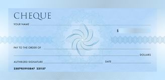 Check template, Chequebook template. Blank blue business bank cheque with guilloche pattern rosette and abstract vector illustration